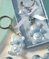 Blue Teddy Bear Design Key Ring Favour
